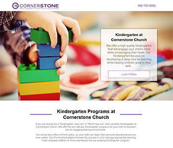 Kindergarten church landing pages