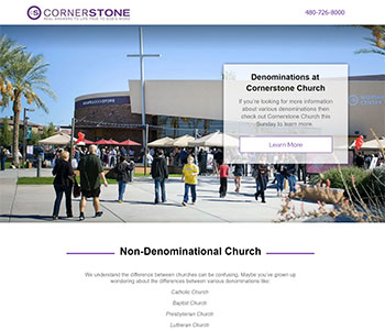 Non-Denominational church landing pages