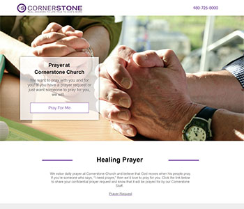 Prayer church landing pages