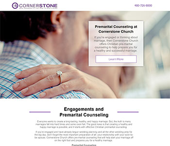 Premarital Counseling church landing pages