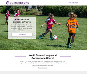 Soccer church landing pages