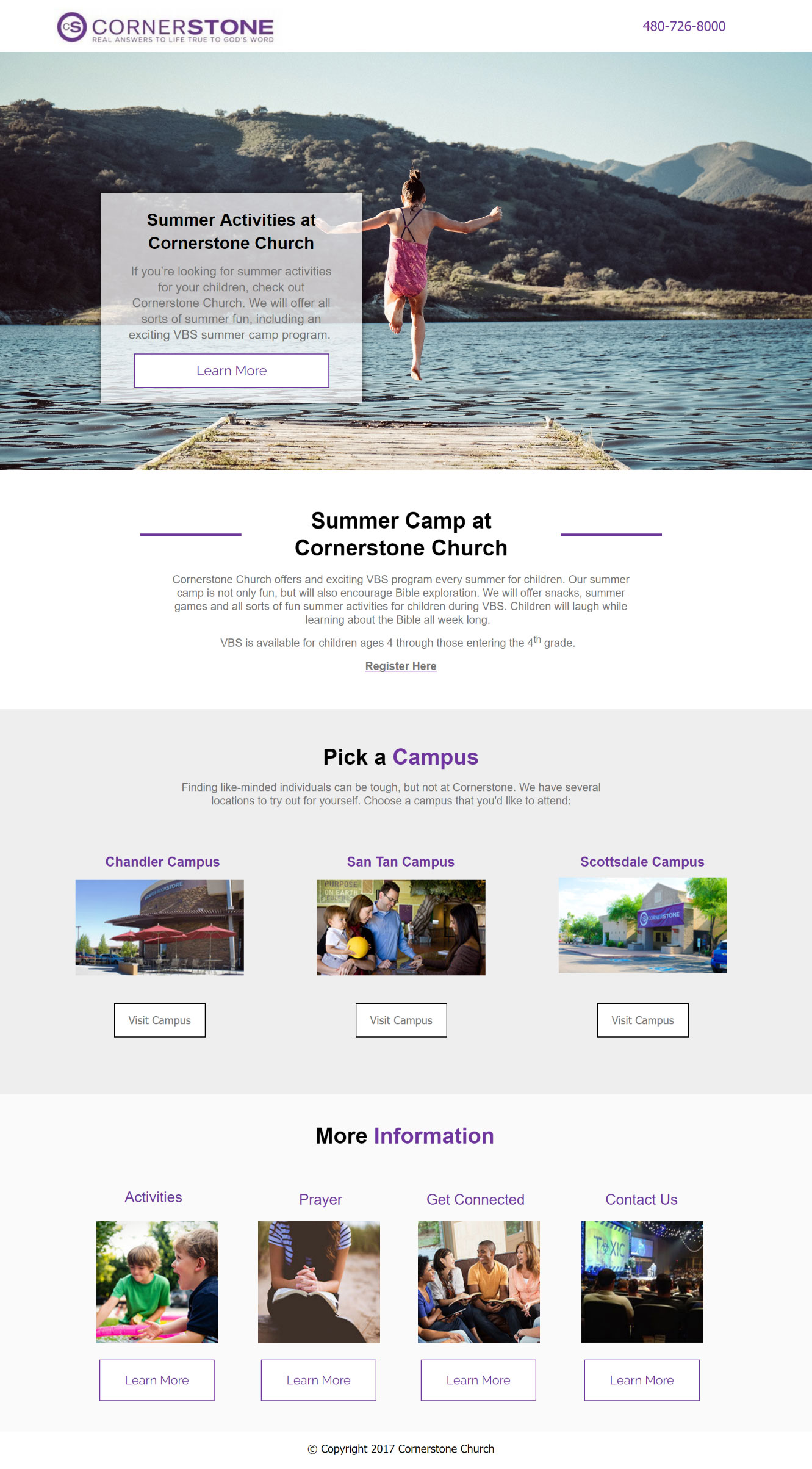 Summer church landing pages