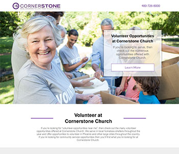 Volunteer church landing pages