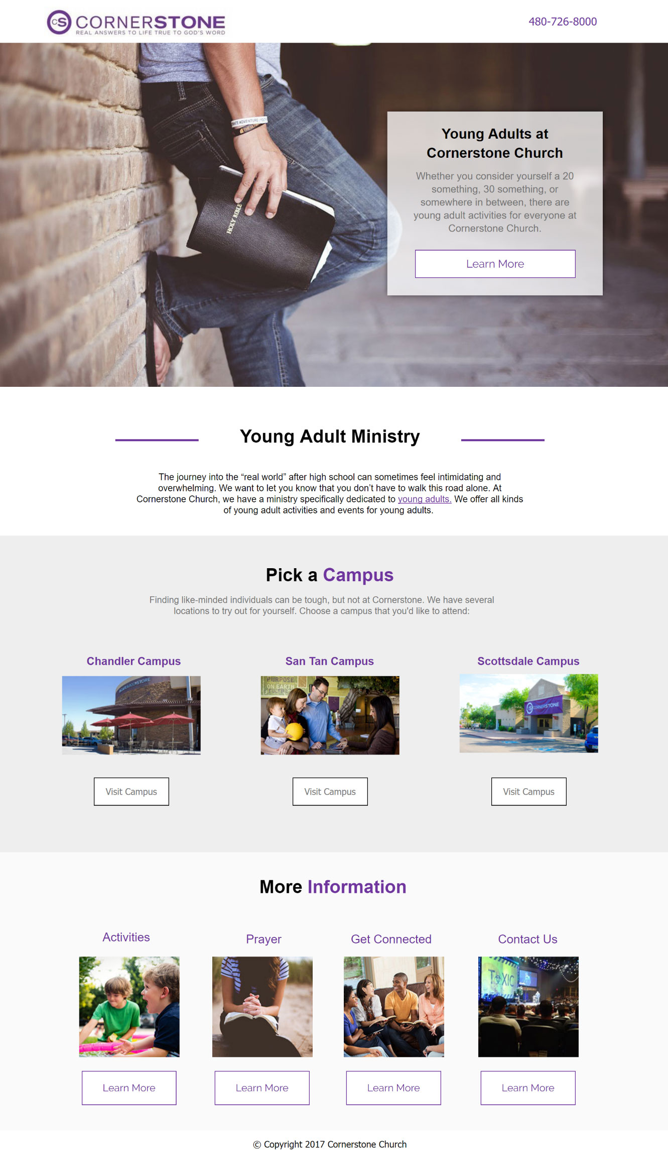 Young Adults church landing pages