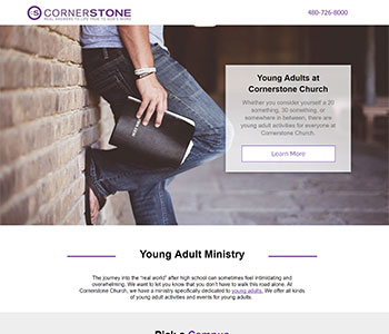 church landing pages